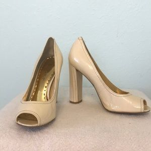COPY - BCBGGirls Wish Peep Toe Block Heels Cream …